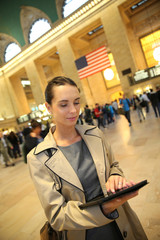Businesswoman in grand central station New York