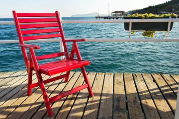 Red beach chair