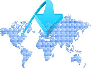 mapa puzzle strzałka na Europe