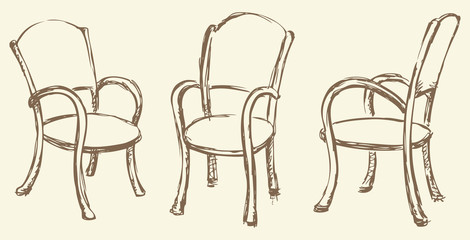 Vector drawing. Wooden chairs with armrests