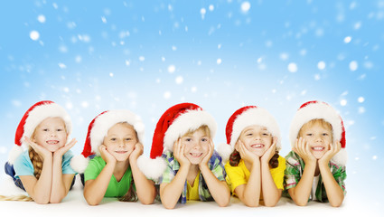 Christmas Children In Santa Helper Hat, Little Kids Boys Girls