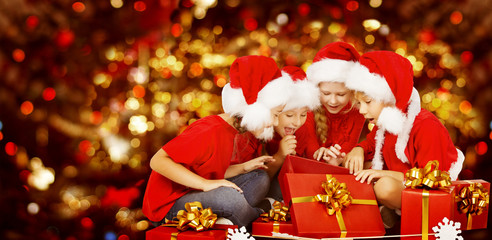 Christmas Kids Opening Present Gift Box, Happy Children
