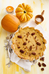 Pumpkin pie with pecans