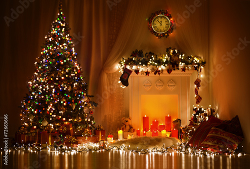 canvas print picture Christmas Room Interior Design, Xmas Tree Decorated By Lights