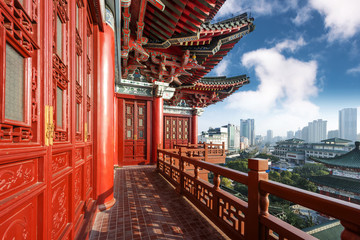 Blue sky and white clouds, ancient Chinese architecture: garden.