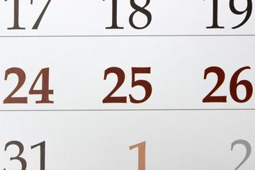 Christmas calendar with 25th December