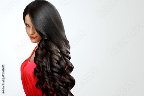 Leinwandbild Motiv Hair. Portrait of Beautiful Woman with Black Wavy Hair. High qua