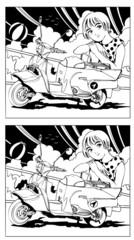 スクーターと少女(間違い探し)
