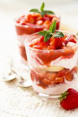 Strawberry dessert with fresh berries