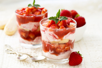 Strawberry dessert with fresh berries