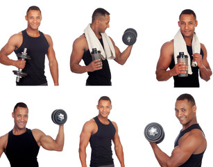 Sequence of latin man in the gym