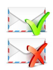 Two white envelopes with check symbols.