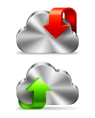 Cloud icon with downloading and uploading sign.