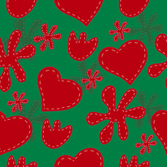 Seamless pattern of red hearts and flowers