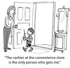 """""""The cashier...is the only person who gets me."""""""