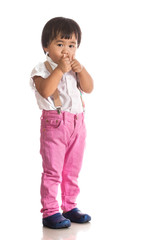 face of asian children acting by hand and face isolated white ba