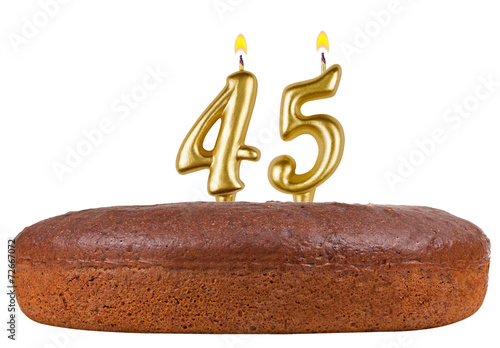 birthday cake with candles number 45 isolated Poster