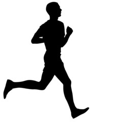 Silhouettes. Runners on sprint, men. vector illustration.