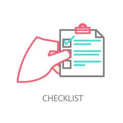 Line illustration of a checklist