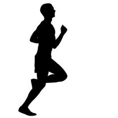 Silhouettes. Runners on sprint, men. vector illustration.