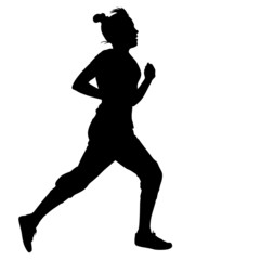 Silhouettes. Runners on sprint, women. vector illustration.