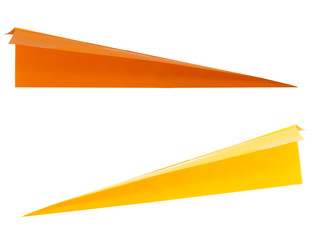 Yellow and orange paper darts, arrows, airplanes isolated