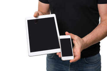 Man showing digital tablet vs smart phone