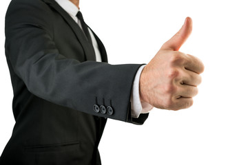Businessman in Black Suit Showing Thumbs Up Sign