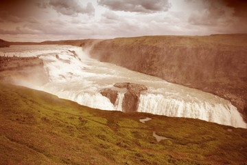 Iceland waterfall Gullfoss - cross processed filtered style
