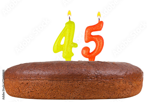 birthday cake with candles number 45 isolated плакат