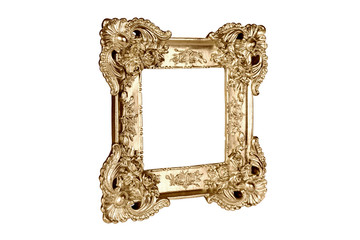 Gold picture frame in perspective isolated on white background