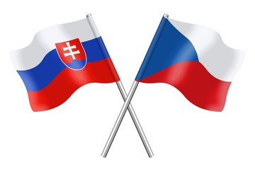 Flags: Slovakia and Czech Republic