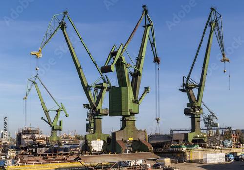 The shipyard cranes