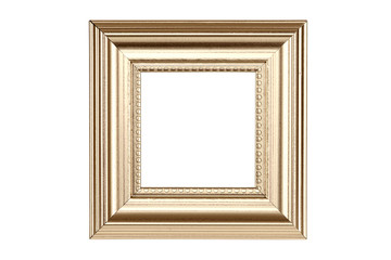 Gold picture frame isolated on white with clipping path