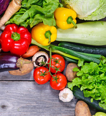 Huge group of fresh vegetables on wooden  table - High quality s