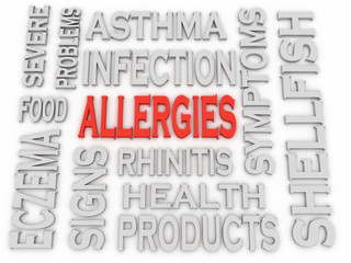 3d imagen Allergies concept word cloud background