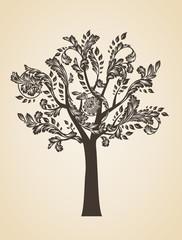 Swirl tree art concept. Brown logo. Engraving Logotype