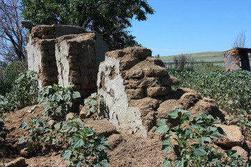 Deserted village house made of manure and straw blocks