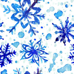 Watercolor snowflake seamless pattern