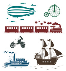Vector icons of vintage means of transportation.