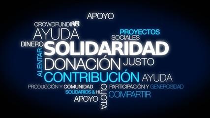 Solidaridad contribución donación palabras nube de etiqueta