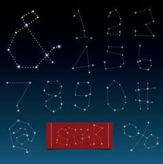 Vector of alphabets in constellations and star shape.