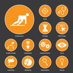 Flat design of icons for start up business. Vector.