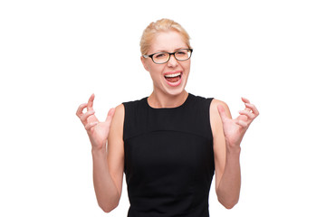 Screaming beautiful young business woman in glasses