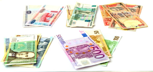 Currency notes from various countries