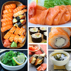 collage menu of Japanese cuisine