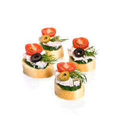 Canapes with Crab Cream, Cherry Tomatoes, Cucumber and Olives