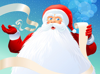 Santa clause gesturing and holding a list