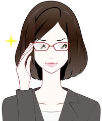 スーツの女性 眼鏡 自信