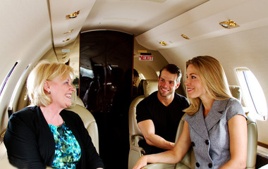 Three passengers on private jet